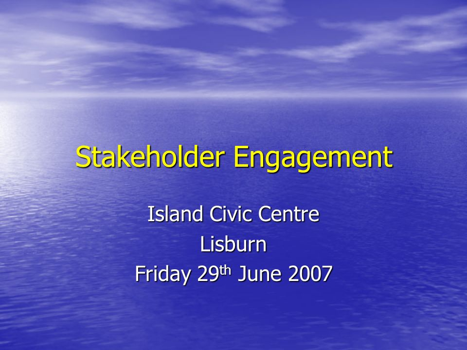 Stakeholder Engagement Workshop Sean Donaghy Director of Finance and Corporate Services (Designate) Health and Social Care Authority