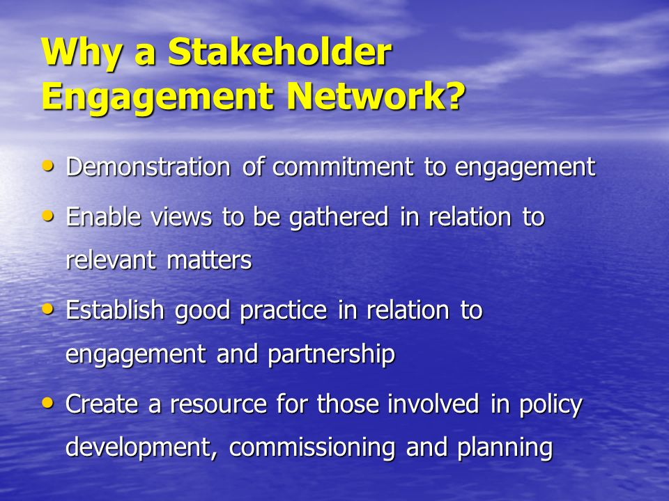 Why a Stakeholder Engagement Network? Demonstration of commitment to engagement Demonstration of commitment to engagement Enable views to be gathered