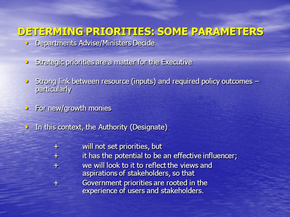 DETERMING PRIORITIES: SOME PARAMETERS Departments Advise/Ministers Decide Departments Advise/Ministers Decide Strategic priorities are a matter for th