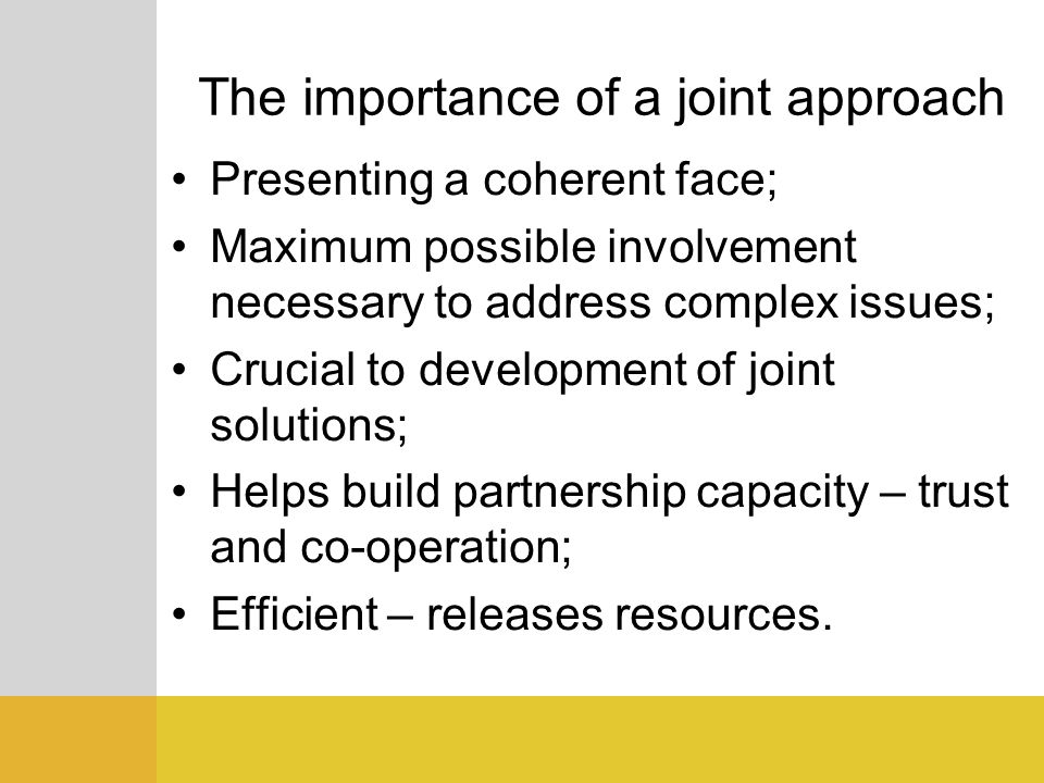 The importance of a joint approach Presenting a coherent face; Maximum possible involvement necessary to address complex issues; Crucial to developmen