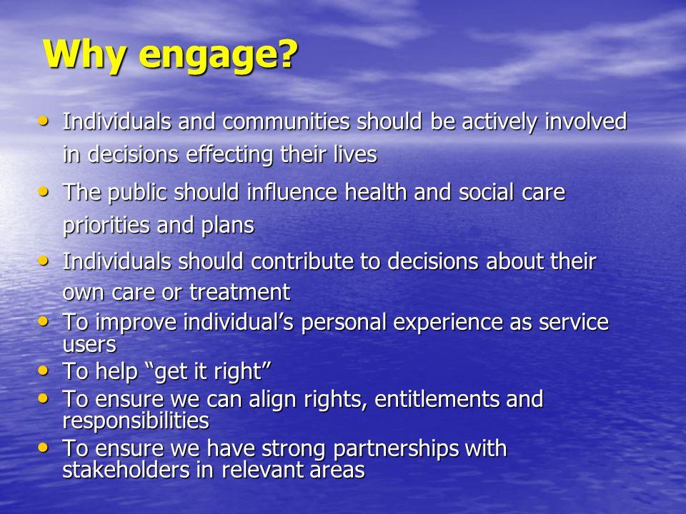 Enabling Effective Engagement Leadership Leadership Consistency Consistency Commitment Commitment Cultural Change Cultural Change Purposeful partnerships Purposeful partnerships Systems and processes Systems and processes