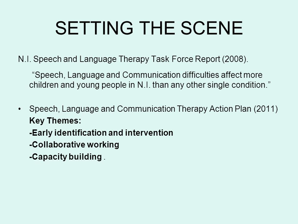 SETTING THE SCENE N.I. Speech and Language Therapy Task Force Report (2008). Speech, Language and Communication difficulties affect more children and