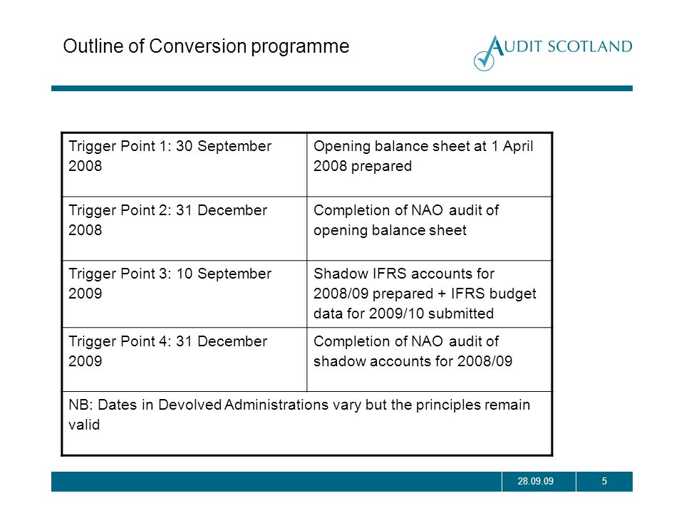 528.09.09 Outline of Conversion programme Trigger Point 1: 30 September 2008 Opening balance sheet at 1 April 2008 prepared Trigger Point 2: 31 Decemb