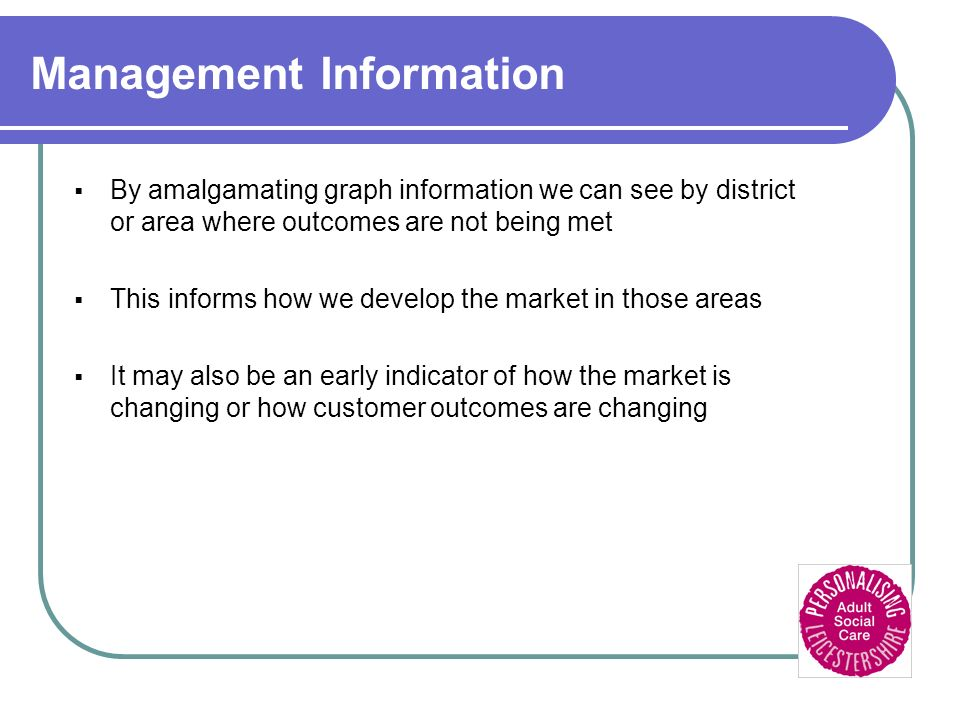 Management Information By amalgamating graph information we can see by district or area where outcomes are not being met This informs how we develop the market in those areas It may also be an early indicator of how the market is changing or how customer outcomes are changing