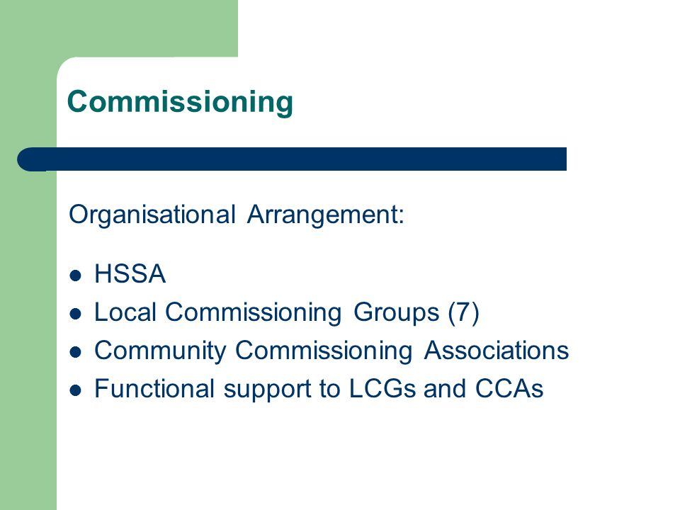 Commissioning Organisational Arrangement: HSSA Local Commissioning Groups (7) Community Commissioning Associations Functional support to LCGs and CCAs