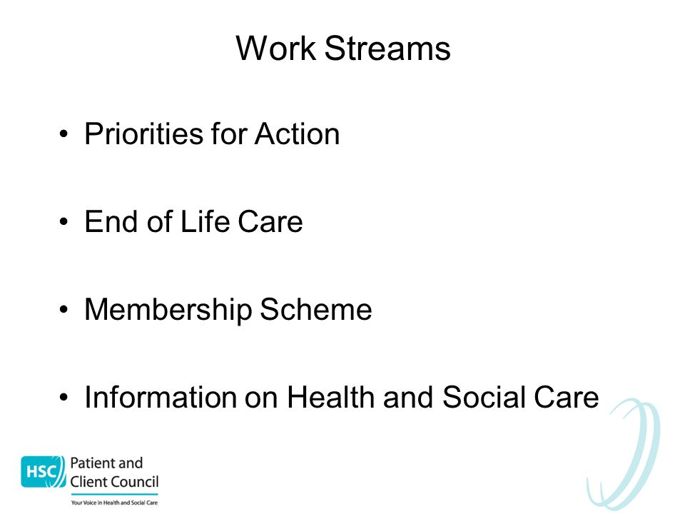 Work Streams Priorities for Action End of Life Care Membership Scheme Information on Health and Social Care
