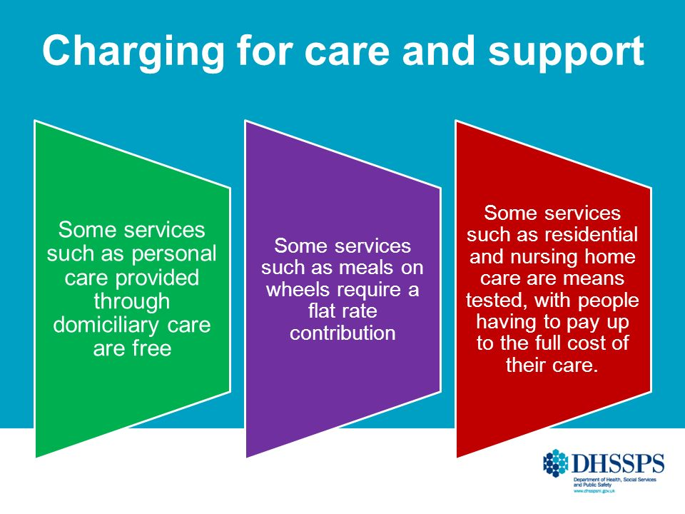 Charging for care and support Some services such as personal care provided through domiciliary care are free Some services such as meals on wheels require a flat rate contribution Some services such as residential and nursing home care are means tested, with people having to pay up to the full cost of their care.