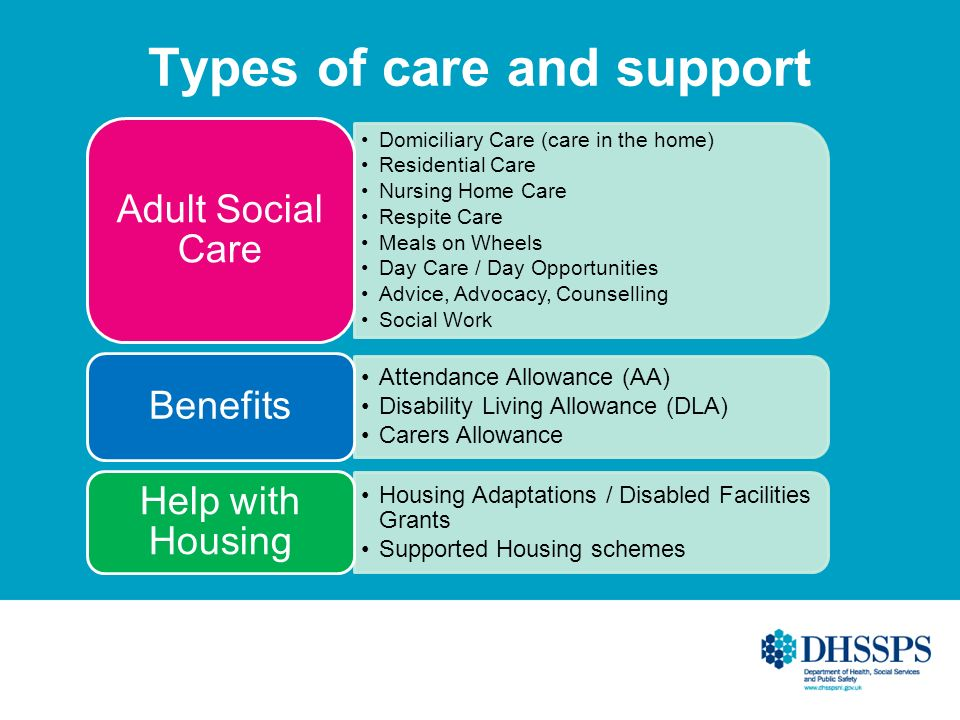Types of care and support Domiciliary Care (care in the home) Residential Care Nursing Home Care Respite Care Meals on Wheels Day Care / Day Opportunities Advice, Advocacy, Counselling Social Work Adult Social Care Attendance Allowance (AA) Disability Living Allowance (DLA) Carers Allowance Benefits Housing Adaptations / Disabled Facilities Grants Supported Housing schemes Help with Housing