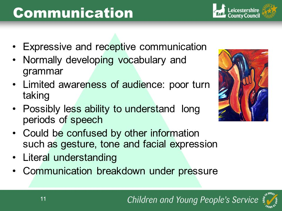 11 Communication Expressive and receptive communication Normally developing vocabulary and grammar Limited awareness of audience: poor turn taking Pos
