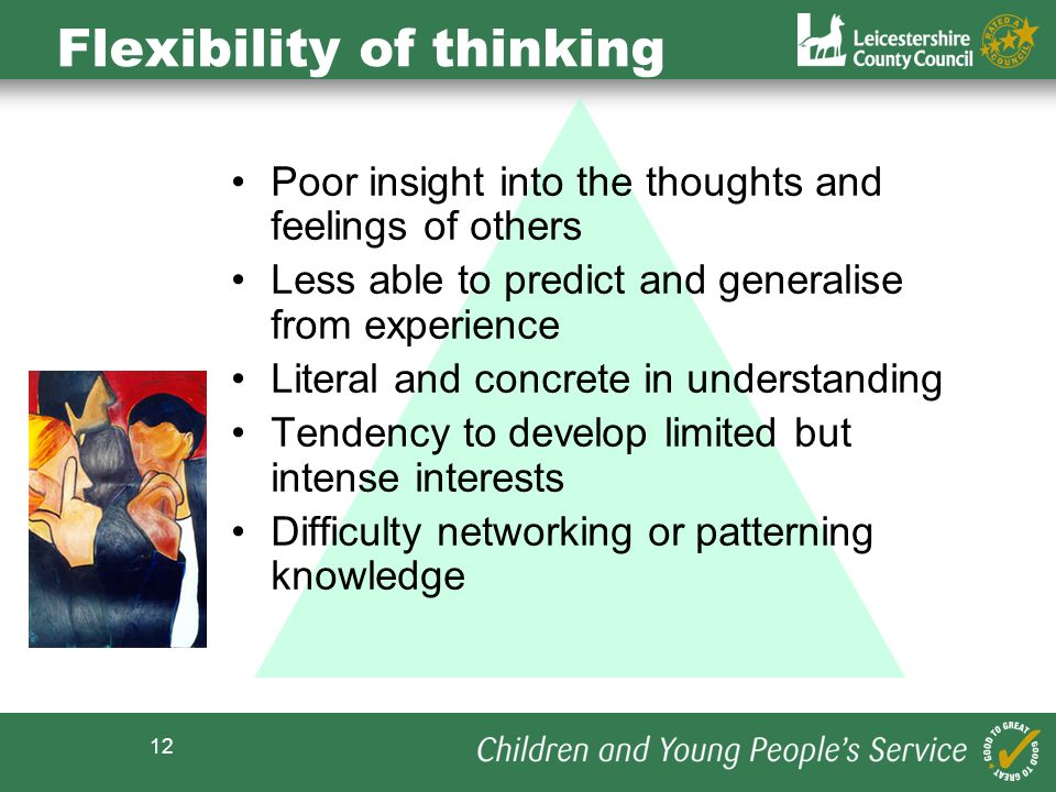 12 Flexibility of thinking Poor insight into the thoughts and feelings of others Less able to predict and generalise from experience Literal and concrete in understanding Tendency to develop limited but intense interests Difficulty networking or patterning knowledge