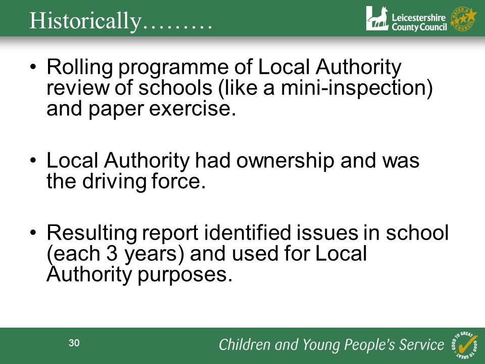 30 Historically……… Rolling programme of Local Authority review of schools (like a mini-inspection) and paper exercise. Local Authority had ownership a