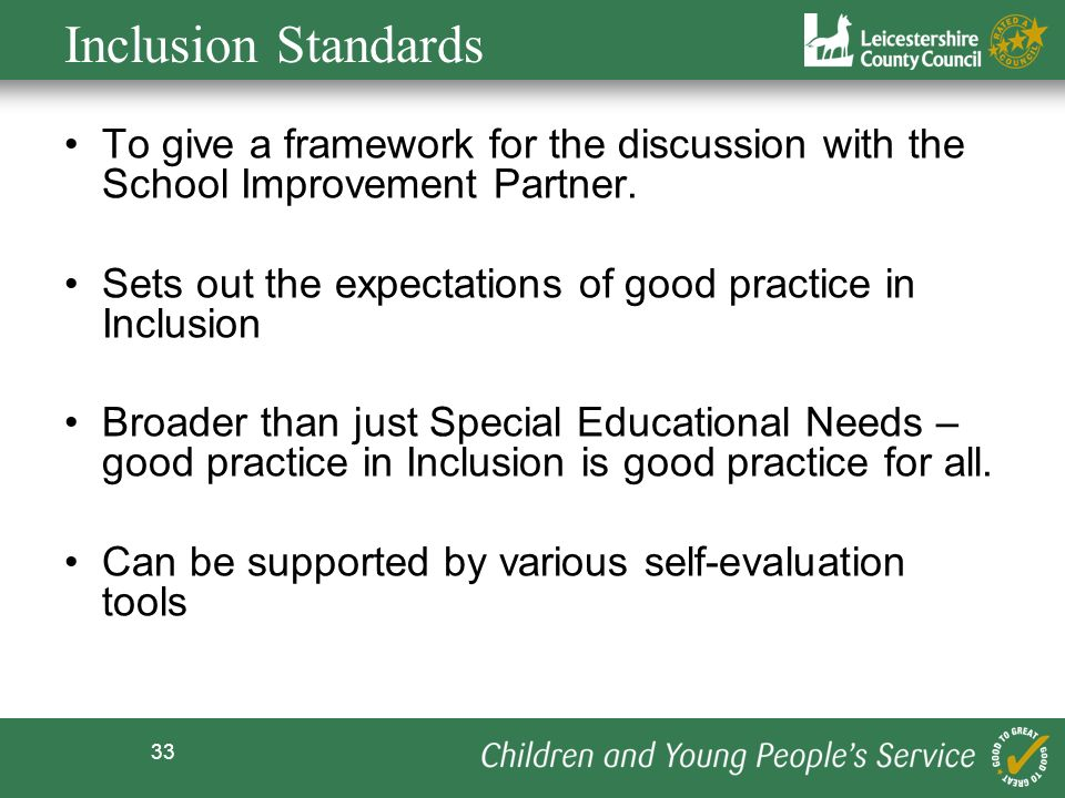 33 Inclusion Standards To give a framework for the discussion with the School Improvement Partner. Sets out the expectations of good practice in Inclu