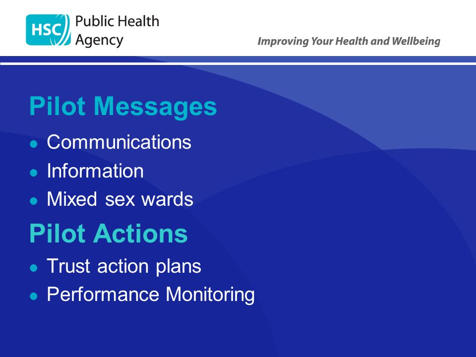 Pilot Messages Communications Information Mixed sex wards Pilot Actions Trust action plans Performance Monitoring
