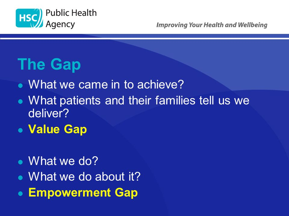 The Gap What we came in to achieve. What patients and their families tell us we deliver.