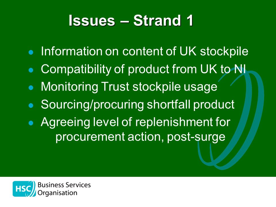 the Information on content of UK stockpile Compatibility of product from UK to NI Monitoring Trust stockpile usage Sourcing/procuring shortfall product Agreeing level of replenishment for procurement action, post-surge Issues – Strand 1