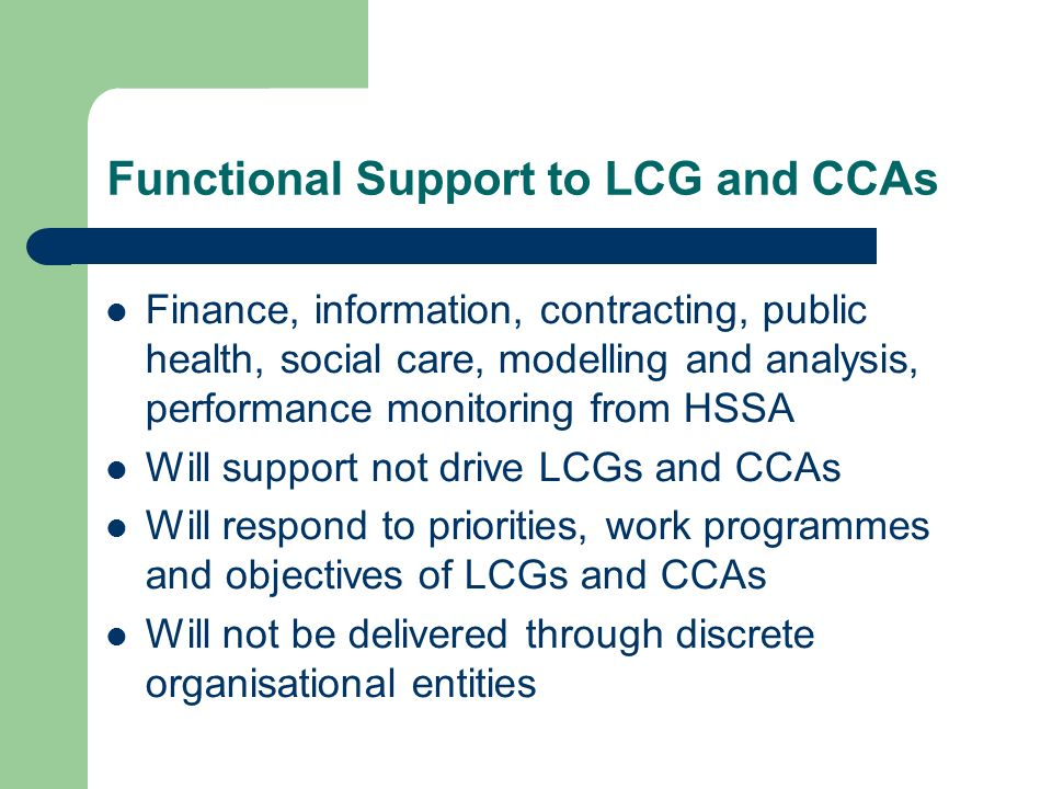 Functional Support to LCG and CCAs Finance, information, contracting, public health, social care, modelling and analysis, performance monitoring from