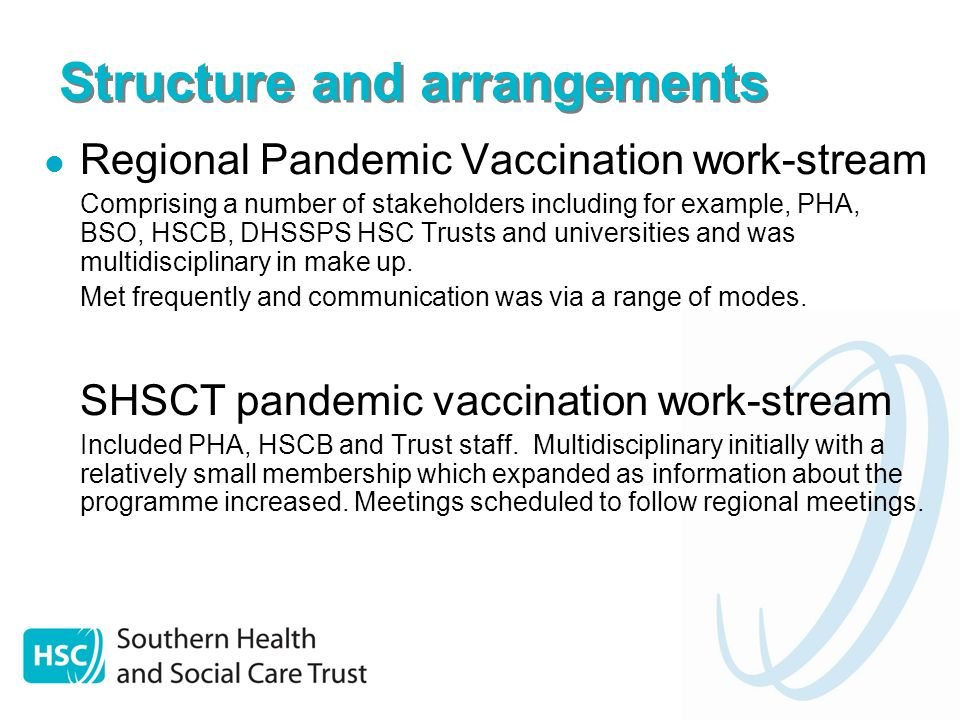 Structure and arrangements Regional Pandemic Vaccination work-stream Comprising a number of stakeholders including for example, PHA, BSO, HSCB, DHSSPS HSC Trusts and universities and was multidisciplinary in make up.