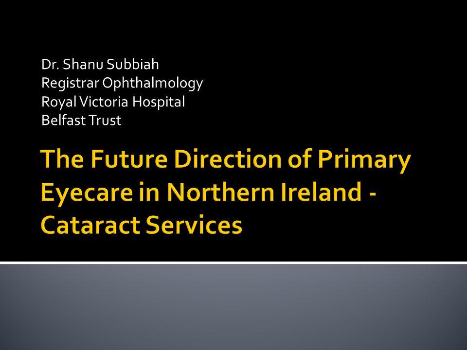 Dr. Shanu Subbiah Registrar Ophthalmology Royal Victoria Hospital Belfast Trust