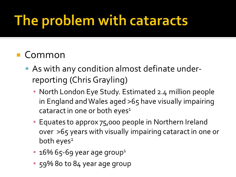 Common As with any condition almost definate under- reporting (Chris Grayling) North London Eye Study. Estimated 2.4 million people in England and Wal