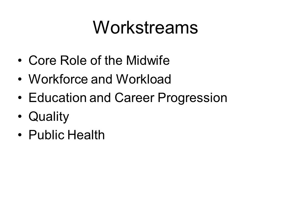 Workstreams Core Role of the Midwife Workforce and Workload Education and Career Progression Quality Public Health