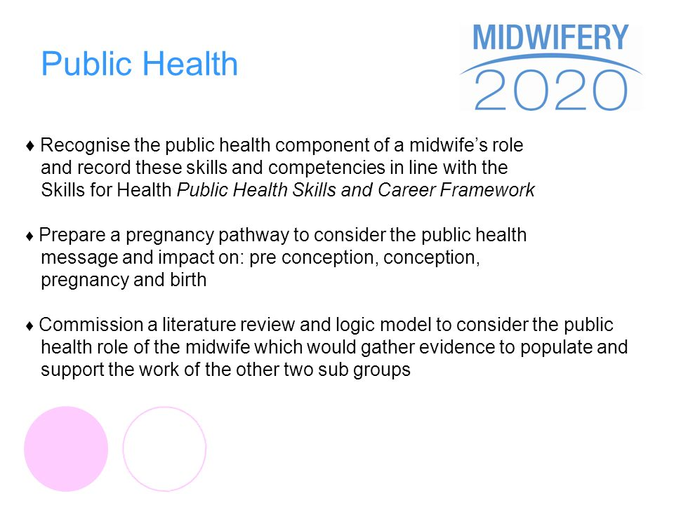 Public Health Recognise the public health component of a midwifes role and record these skills and competencies in line with the Skills for Health Public Health Skills and Career Framework Prepare a pregnancy pathway to consider the public health message and impact on: pre conception, conception, pregnancy and birth Commission a literature review and logic model to consider the public health role of the midwife which would gather evidence to populate and support the work of the other two sub groups