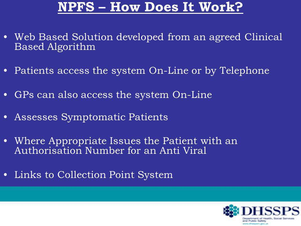 NPFS – How Does It Work? Web Based Solution developed from an agreed Clinical Based Algorithm Patients access the system On-Line or by Telephone GPs c