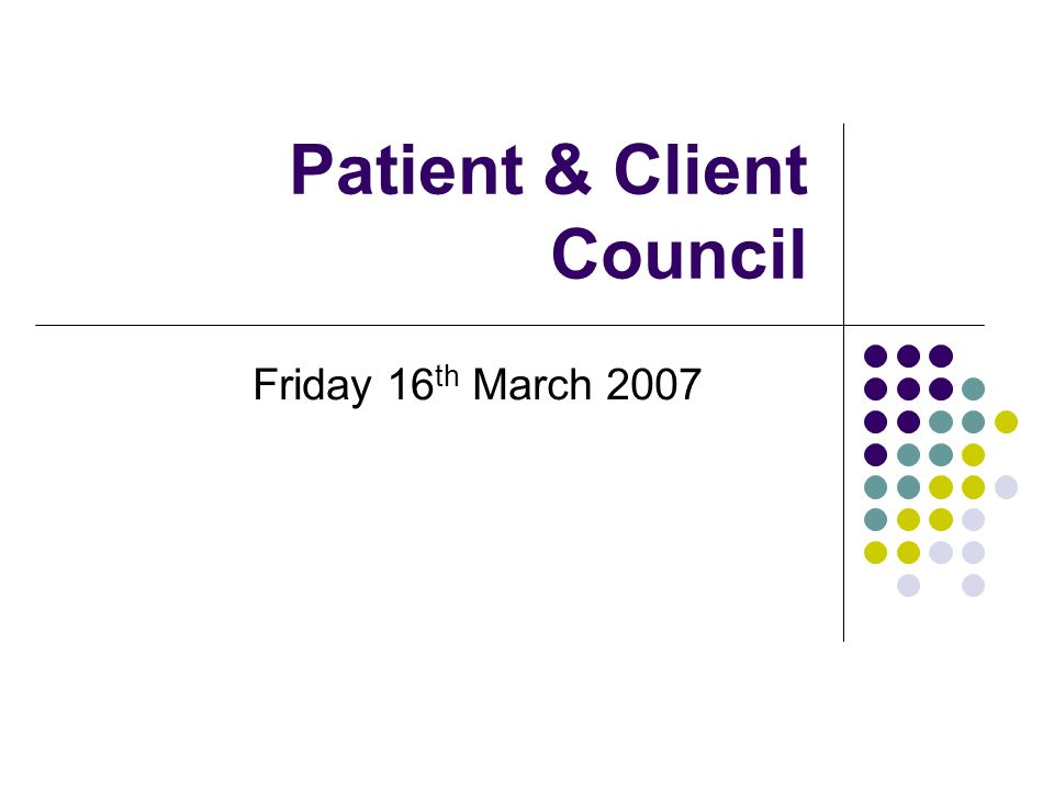 Patient & Client Council Friday 16 th March 2007