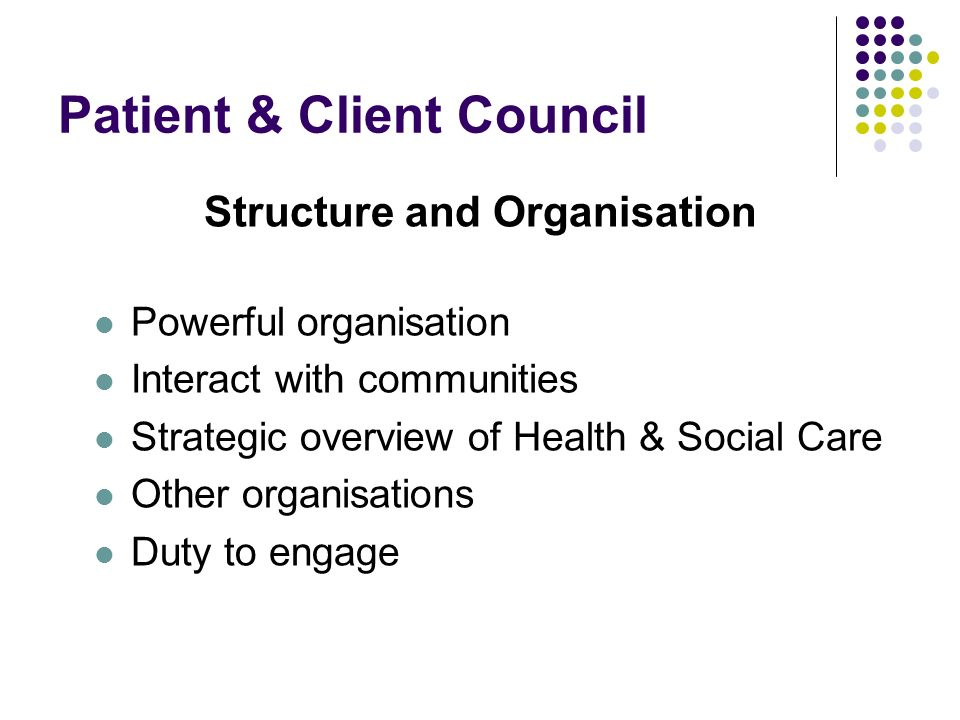 Patient & Client Council Structure and Organisation Powerful organisation Interact with communities Strategic overview of Health & Social Care Other organisations Duty to engage