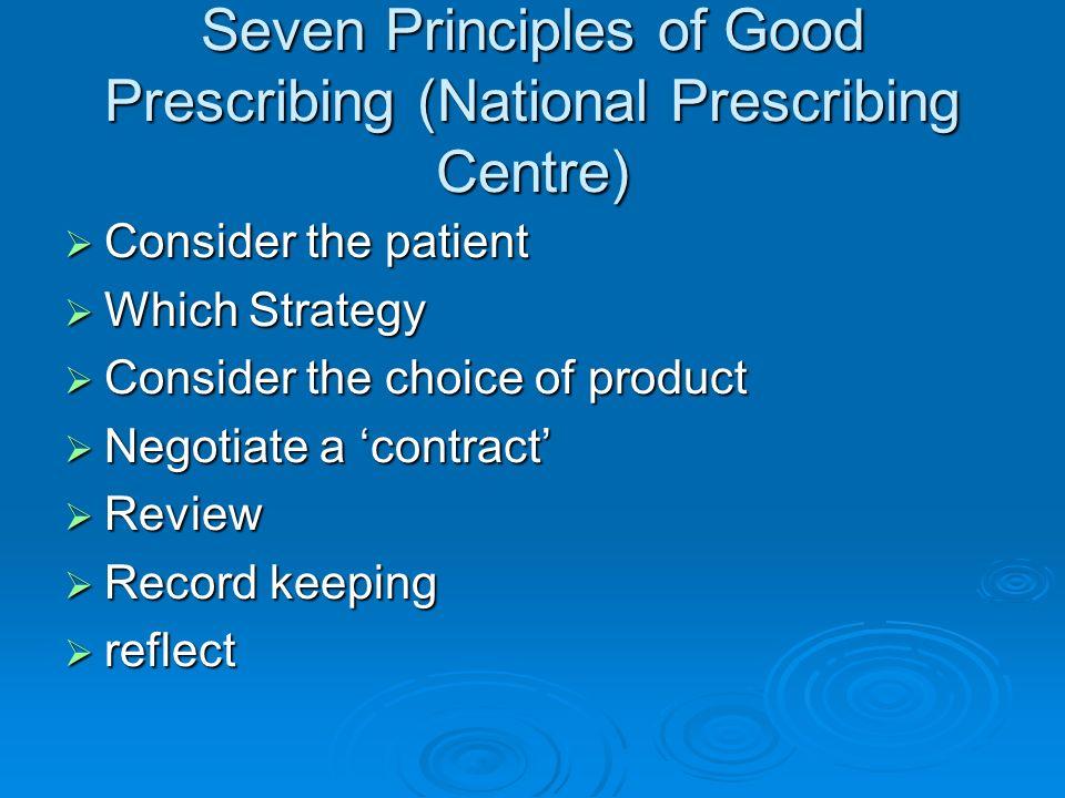 Seven Principles of Good Prescribing (National Prescribing Centre) Consider the patient Consider the patient Which Strategy Which Strategy Consider th