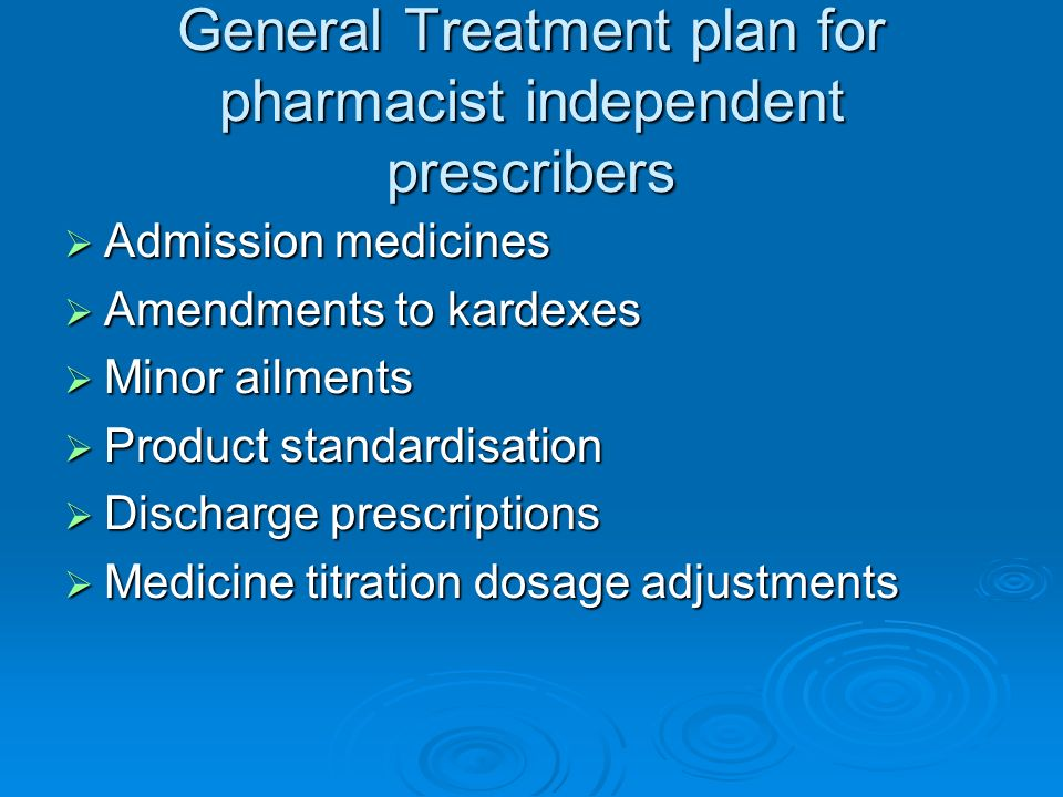 General Treatment plan for pharmacist independent prescribers Admission medicines Admission medicines Amendments to kardexes Amendments to kardexes Mi