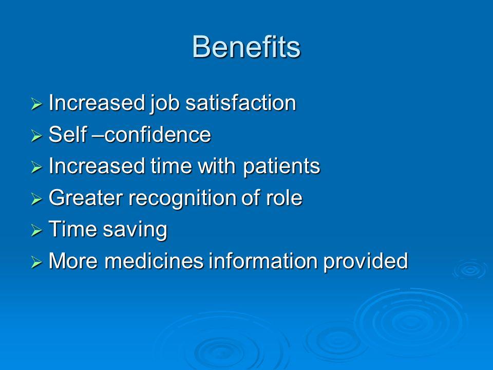 Benefits Increased job satisfaction Increased job satisfaction Self –confidence Self –confidence Increased time with patients Increased time with pati