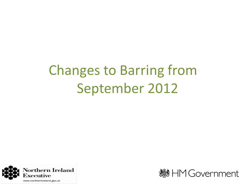 Changes to Barring from September 2012