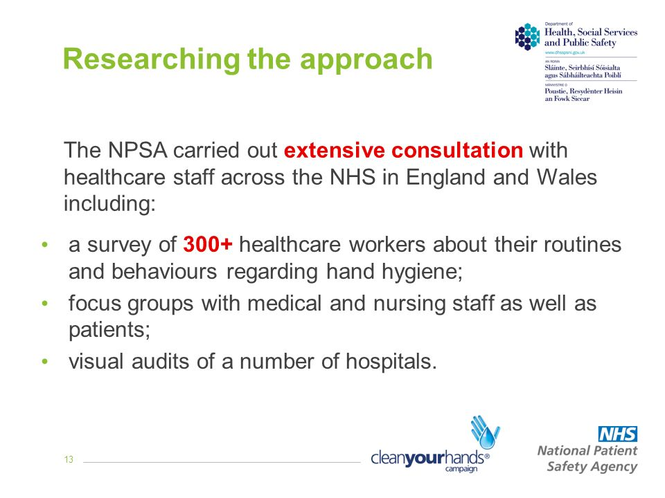 13 Researching the approach a survey of 300+ healthcare workers about their routines and behaviours regarding hand hygiene; focus groups with medical and nursing staff as well as patients; visual audits of a number of hospitals.
