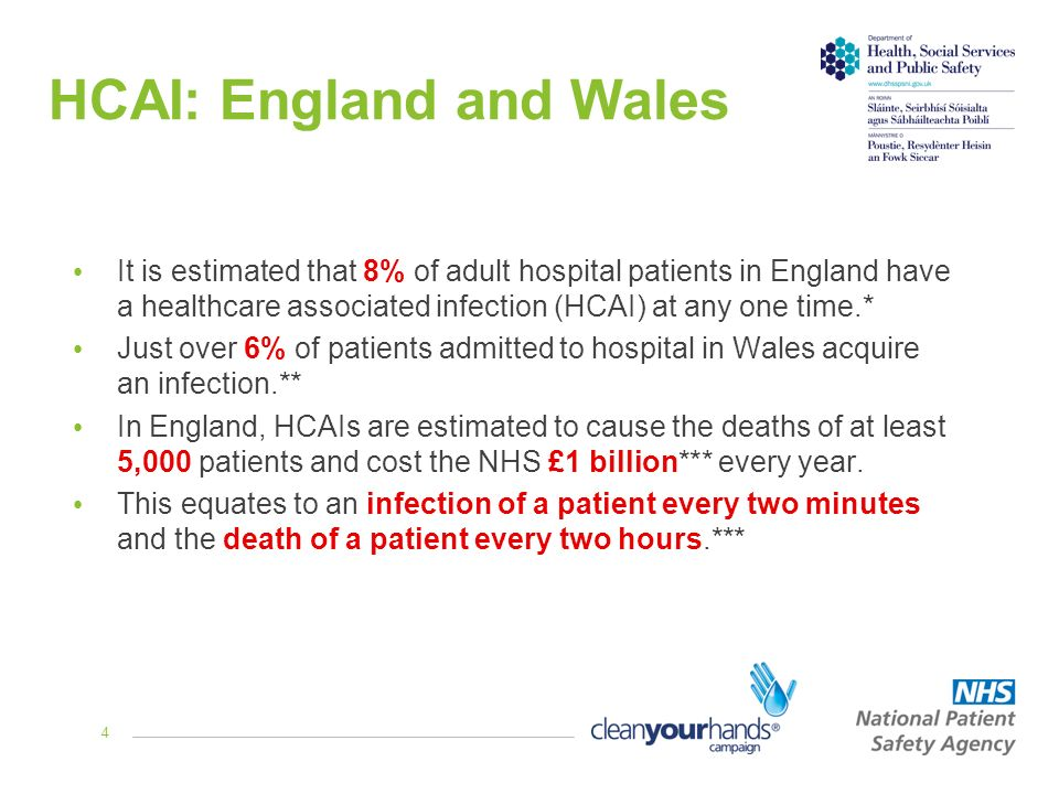 4 HCAI: England and Wales It is estimated that 8% of adult hospital patients in England have a healthcare associated infection (HCAI) at any one time.