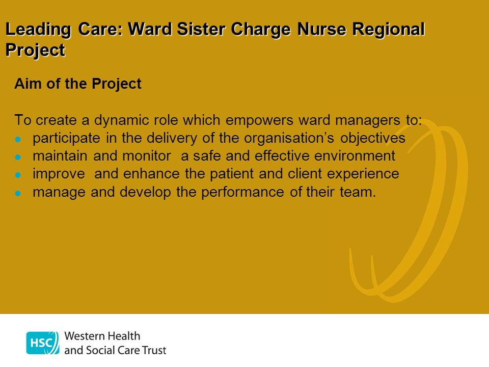 Leading Care: Ward Sister Charge Nurse Regional Project Aim of the Project To create a dynamic role which empowers ward managers to: participate in th