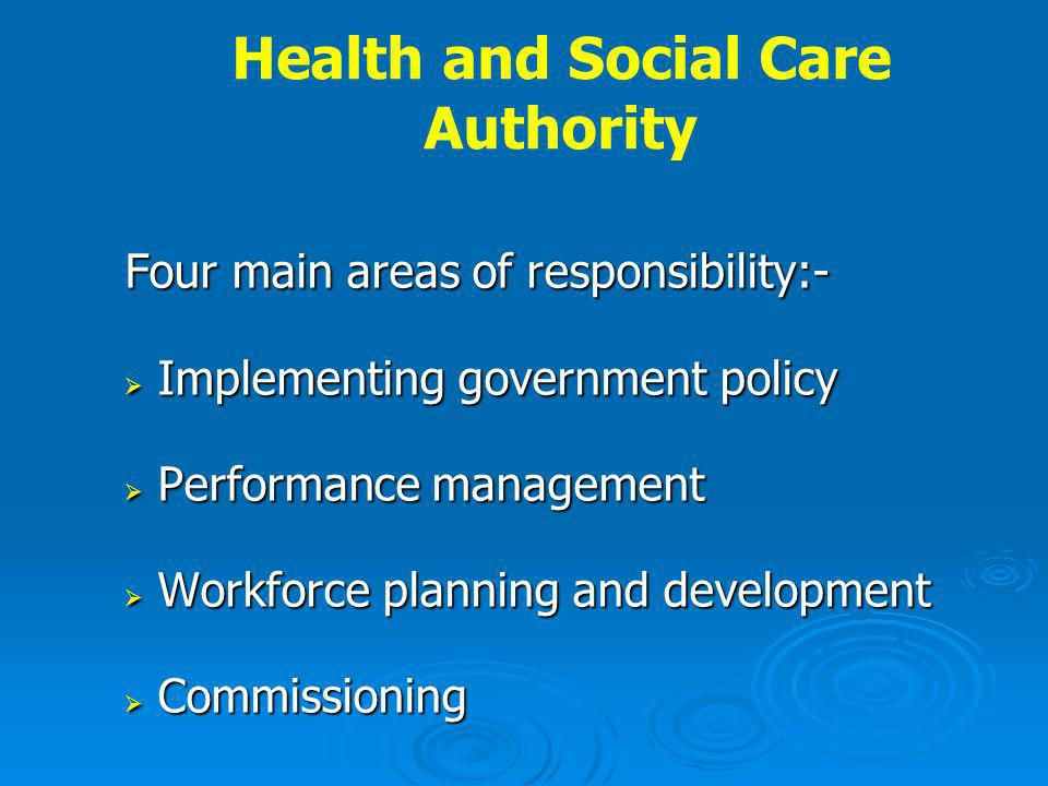 Health and Social Care Authority Four main areas of responsibility:- Implementing government policy Implementing government policy Performance management Performance management Workforce planning and development Workforce planning and development Commissioning Commissioning