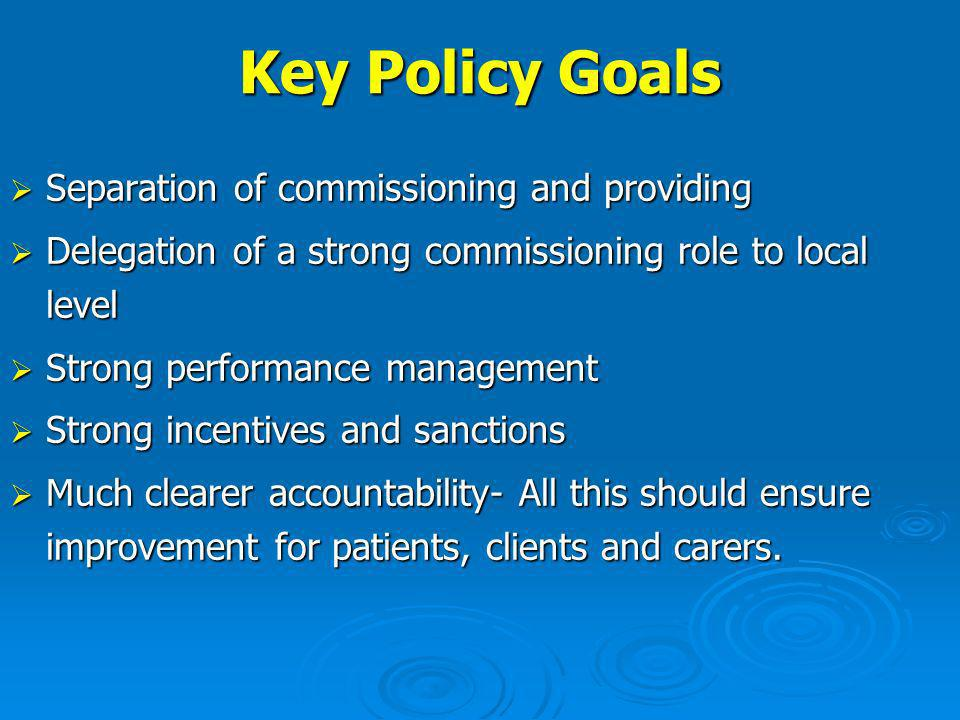 Key Policy Goals Separation of commissioning and providing Separation of commissioning and providing Delegation of a strong commissioning role to local level Delegation of a strong commissioning role to local level Strong performance management Strong performance management Strong incentives and sanctions Strong incentives and sanctions Much clearer accountability- All this should ensure improvement for patients, clients and carers.