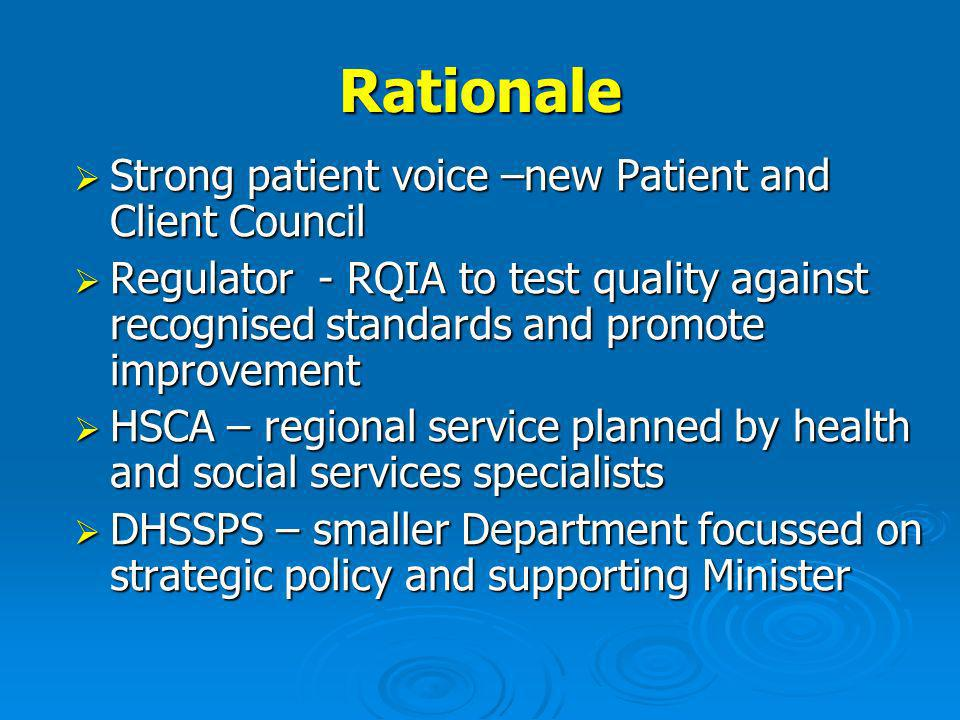 Rationale Strong patient voice –new Patient and Client Council Strong patient voice –new Patient and Client Council Regulator - RQIA to test quality against recognised standards and promote improvement Regulator - RQIA to test quality against recognised standards and promote improvement HSCA – regional service planned by health and social services specialists HSCA – regional service planned by health and social services specialists DHSSPS – smaller Department focussed on strategic policy and supporting Minister DHSSPS – smaller Department focussed on strategic policy and supporting Minister