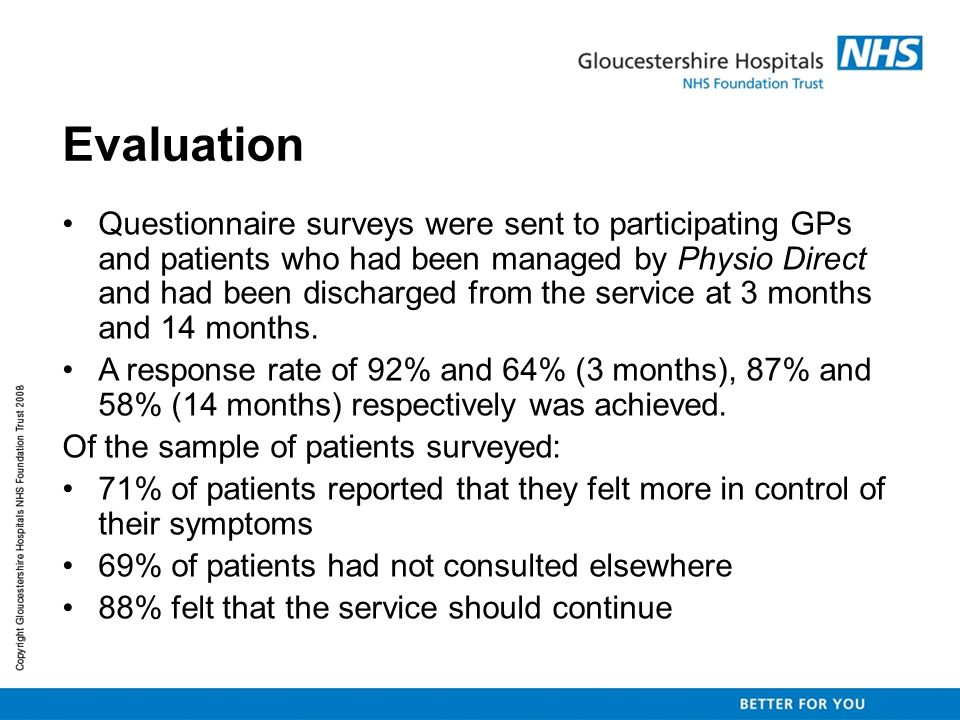 Evaluation Questionnaire surveys were sent to participating GPs and patients who had been managed by Physio Direct and had been discharged from the se