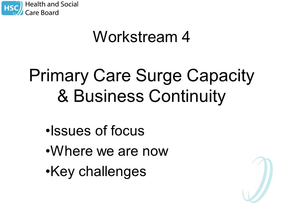Workstream 4 Primary Care Surge Capacity & Business Continuity Issues of focus Where we are now Key challenges