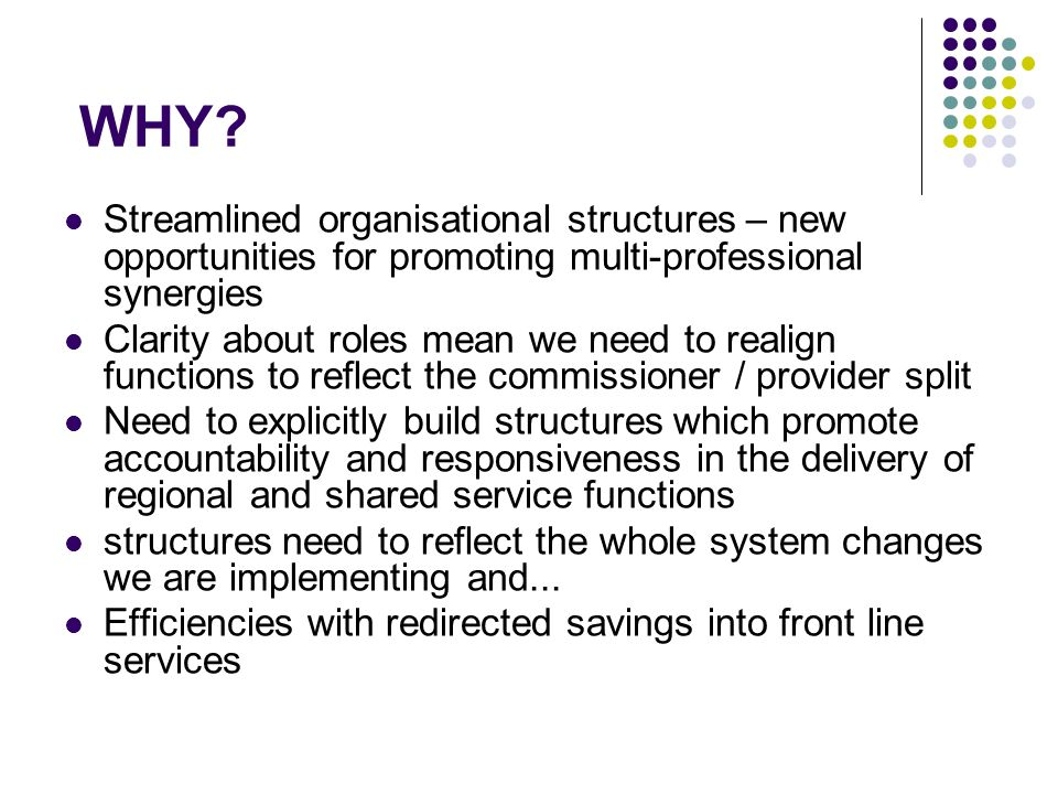 WHY? Streamlined organisational structures – new opportunities for promoting multi-professional synergies Clarity about roles mean we need to realign