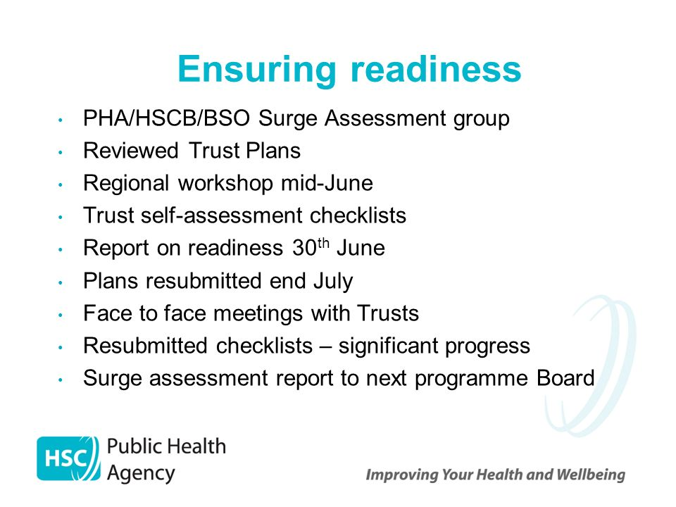 Ensuring readiness PHA/HSCB/BSO Surge Assessment group Reviewed Trust Plans Regional workshop mid-June Trust self-assessment checklists Report on read