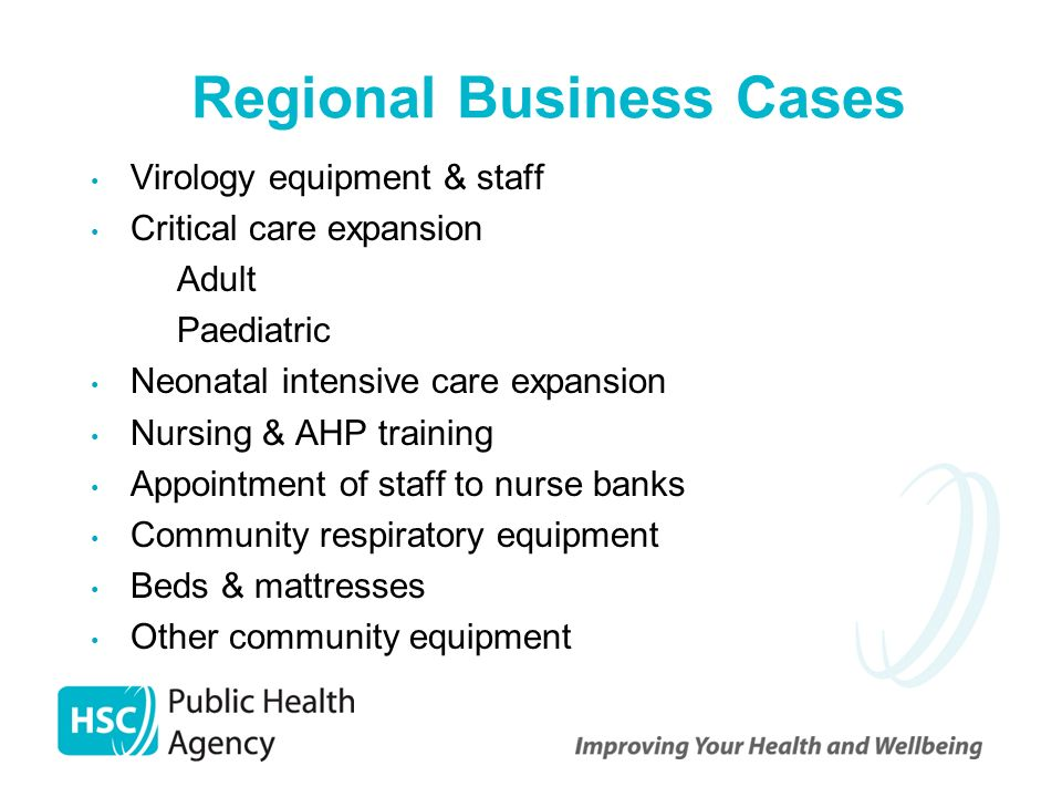 Regional Business Cases Virology equipment & staff Critical care expansion – Adult – Paediatric Neonatal intensive care expansion Nursing & AHP training Appointment of staff to nurse banks Community respiratory equipment Beds & mattresses Other community equipment