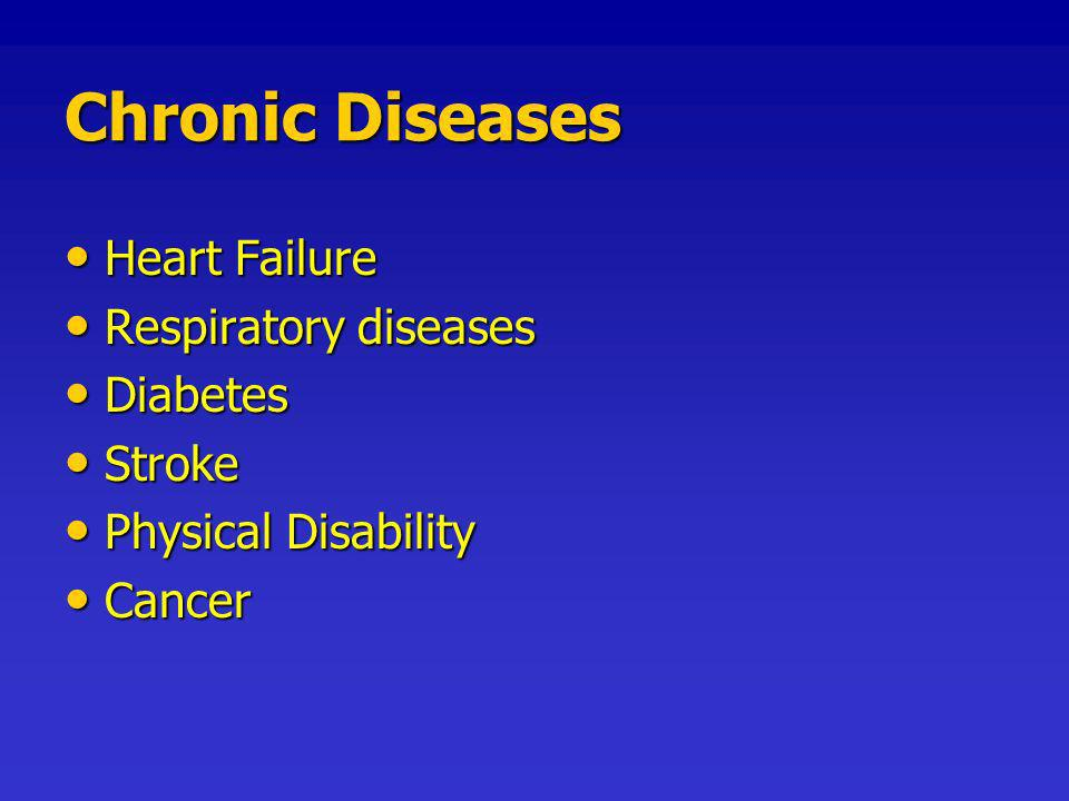 Chronic Diseases Heart Failure Heart Failure Respiratory diseases Respiratory diseases Diabetes Diabetes Stroke Stroke Physical Disability Physical Disability Cancer Cancer