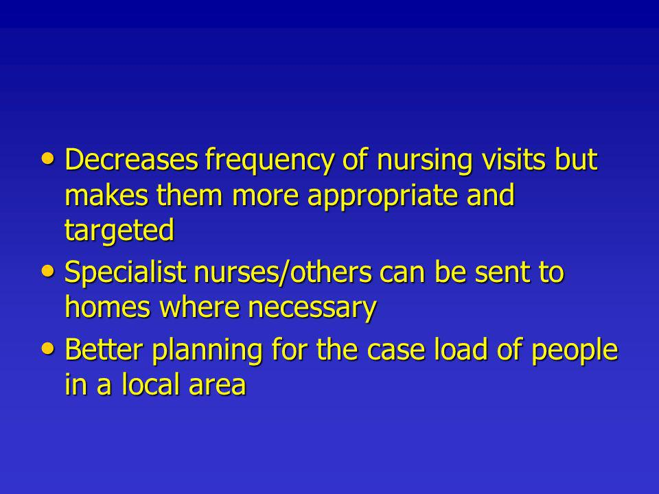 Decreases frequency of nursing visits but makes them more appropriate and targeted Decreases frequency of nursing visits but makes them more appropriate and targeted Specialist nurses/others can be sent to homes where necessary Specialist nurses/others can be sent to homes where necessary Better planning for the case load of people in a local area Better planning for the case load of people in a local area