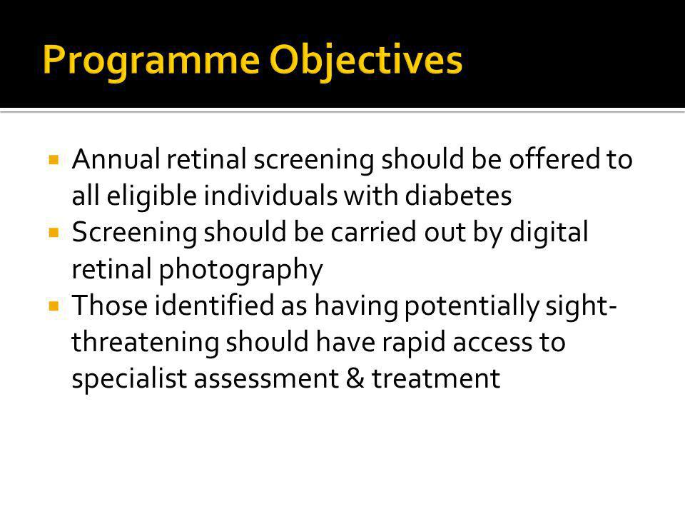 Annual retinal screening should be offered to all eligible individuals with diabetes Screening should be carried out by digital retinal photography Those identified as having potentially sight- threatening should have rapid access to specialist assessment & treatment