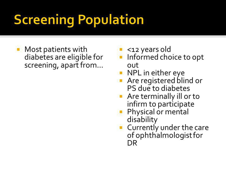 Most patients with diabetes are eligible for screening, apart from... <12 years old Informed choice to opt out NPL in either eye Are registered blind