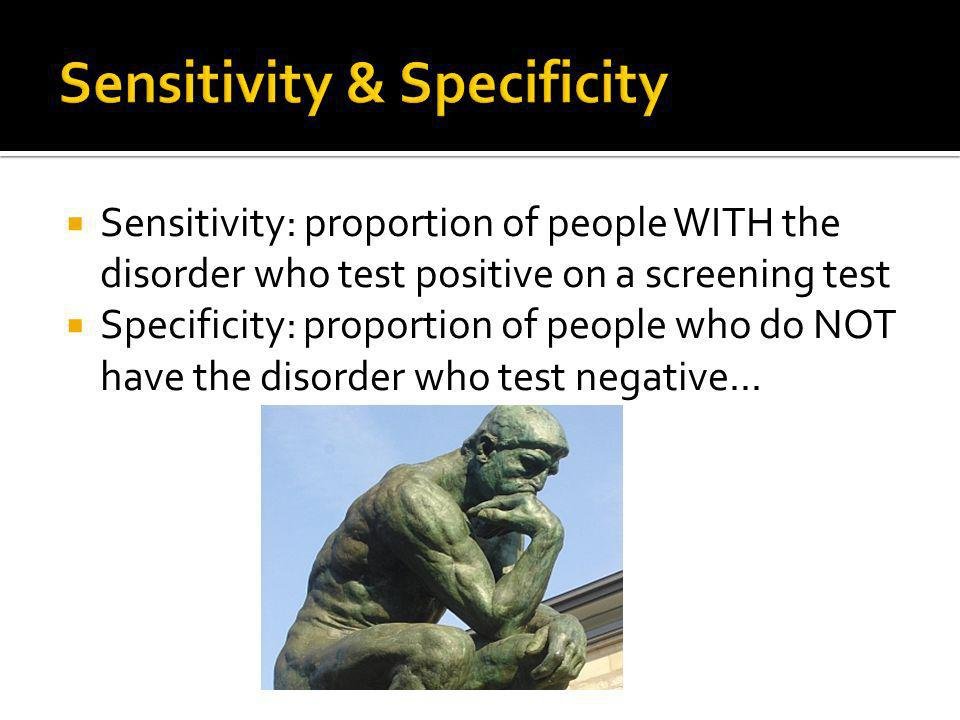 Sensitivity: proportion of people WITH the disorder who test positive on a screening test Specificity: proportion of people who do NOT have the disorder who test negative...