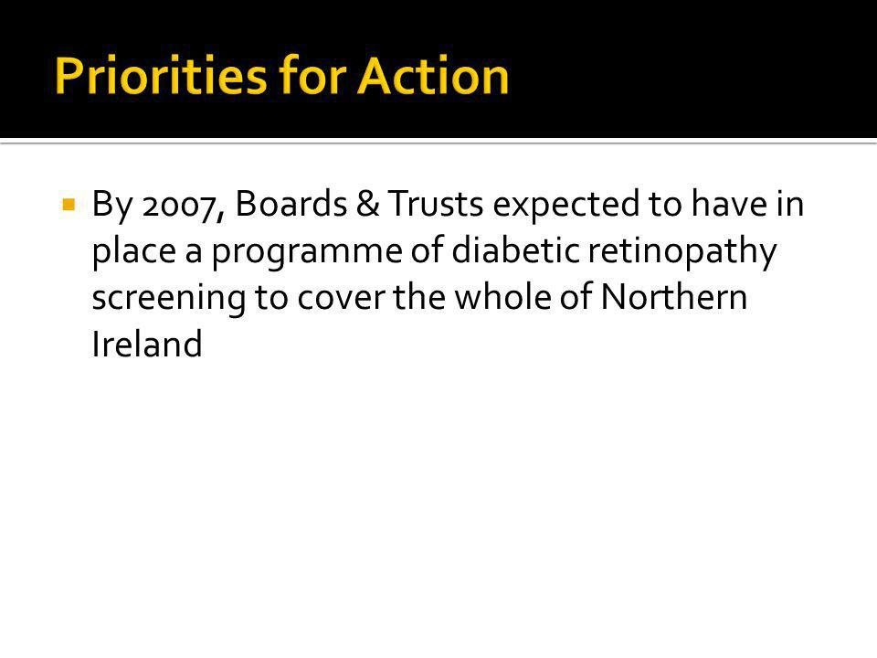 By 2007, Boards & Trusts expected to have in place a programme of diabetic retinopathy screening to cover the whole of Northern Ireland
