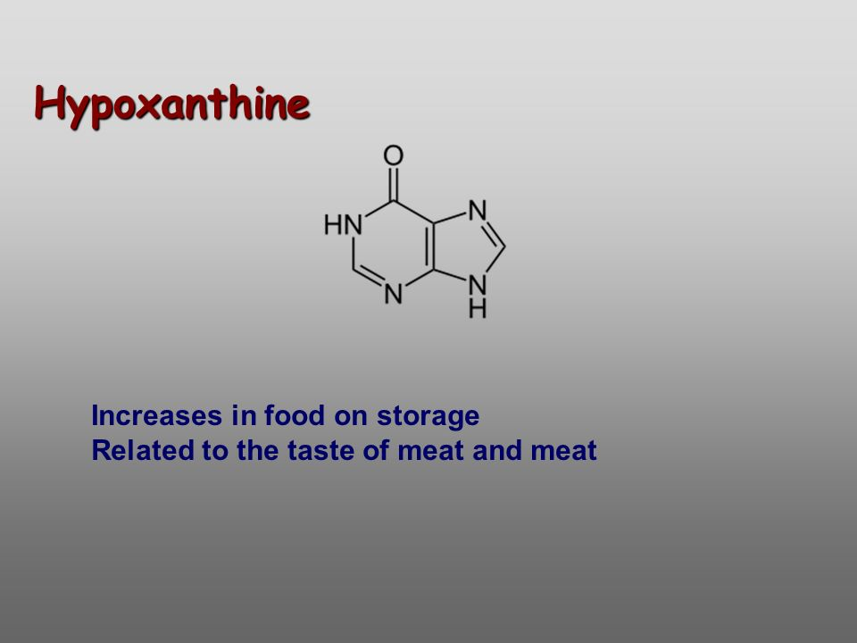 Hypoxanthine Increases in food on storage Related to the taste of meat and meat